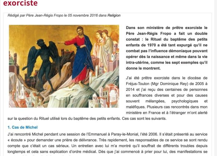 Contribution à la réflexion du P.  J.-Régis Fropo sur la question du rituel du baptême des enfants